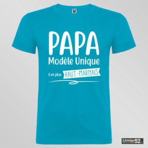 tee shirt papa modèle unique haute-marne personnalisé bleu profond