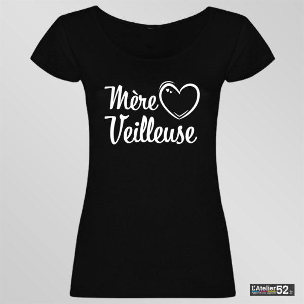 tee shirt personnalisé femme mère veilleuse haute-marne noir