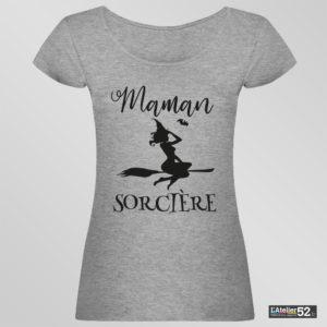 maman sorcière chalindrey tee shirt personnalisé gris