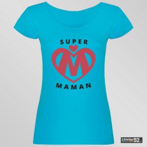 Tee shirt personnalisé haute-marne super maman bleu profond